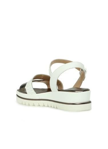 Divarese 5024275 Kroko Kadın Sandalet Beyaz